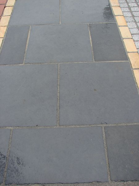 smooth finish black limestone paving