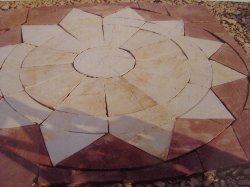 3m round sandstone star circle lilaput yellow with red modak