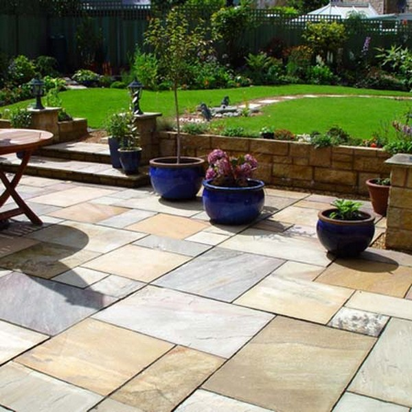 mint-fossil sandstone paving