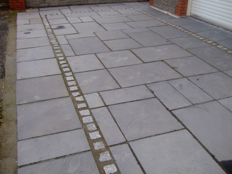 Black limestone paving flags